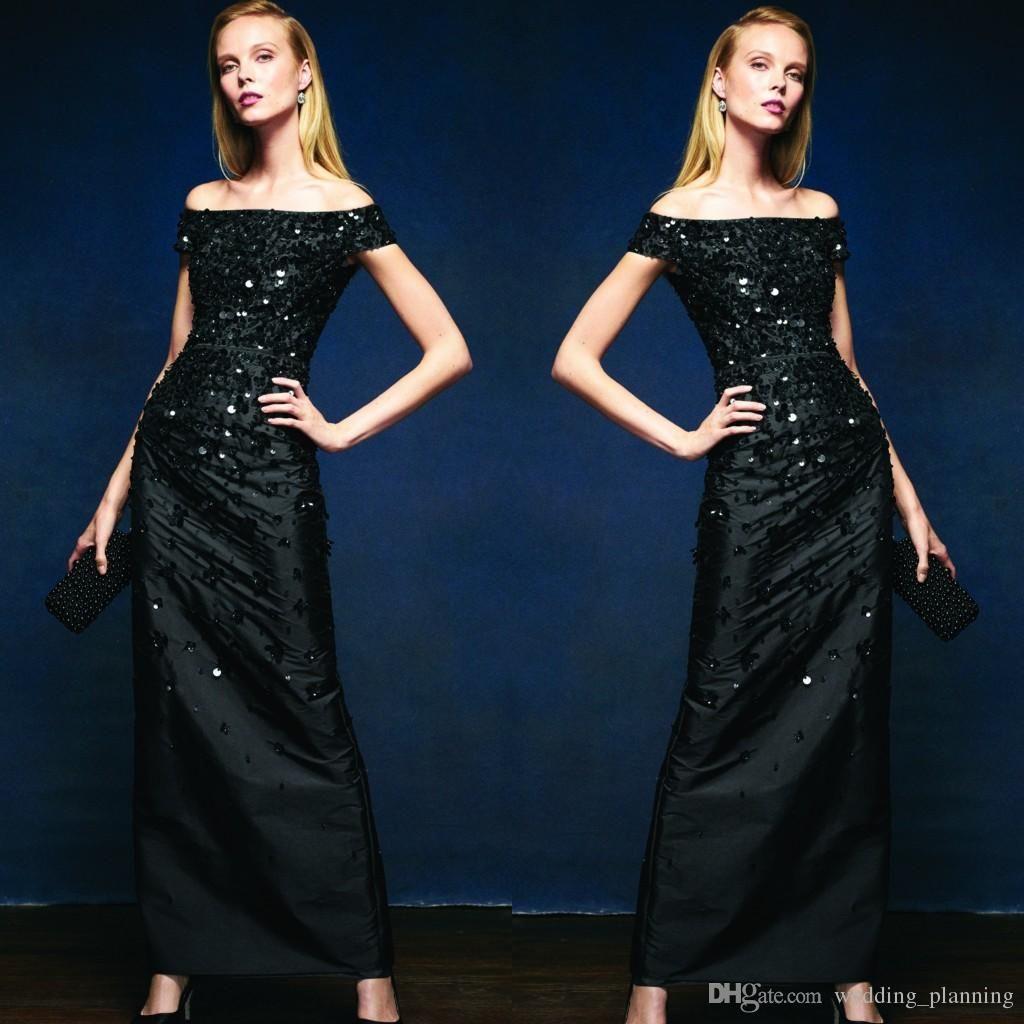 Brilliant black evening dresses offshoulder sleeveless sequins