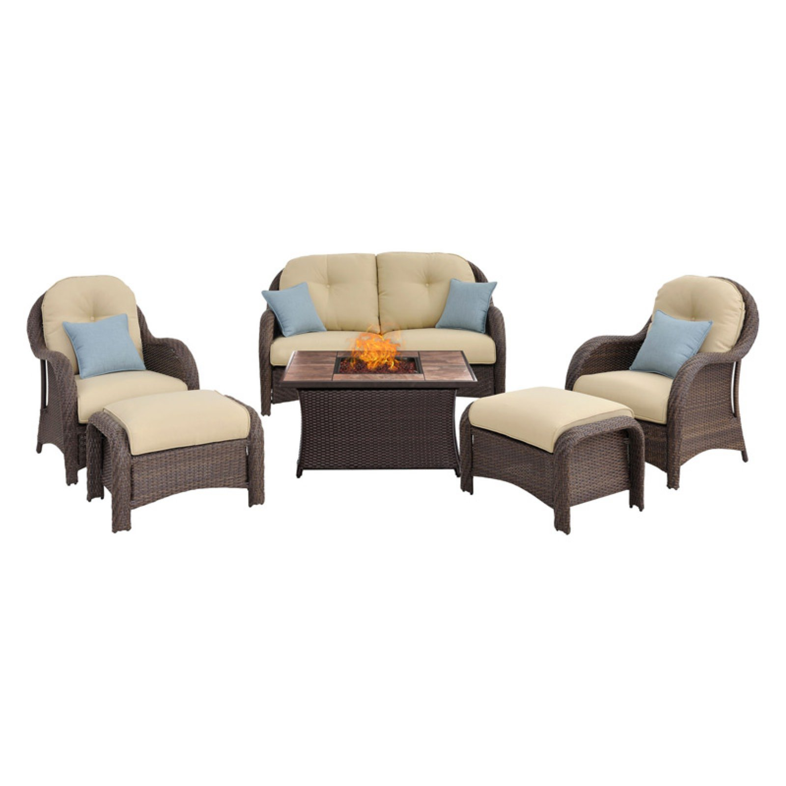 Outdoor Hanover Newport 6 Piece Woven Fire Pit Seating Set Gray