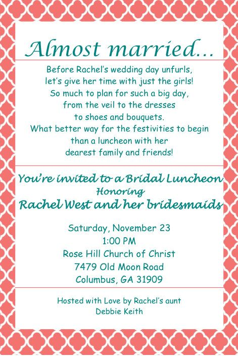 Bridal Luncheon Invitation by AnotherInvitation on Etsy 1200