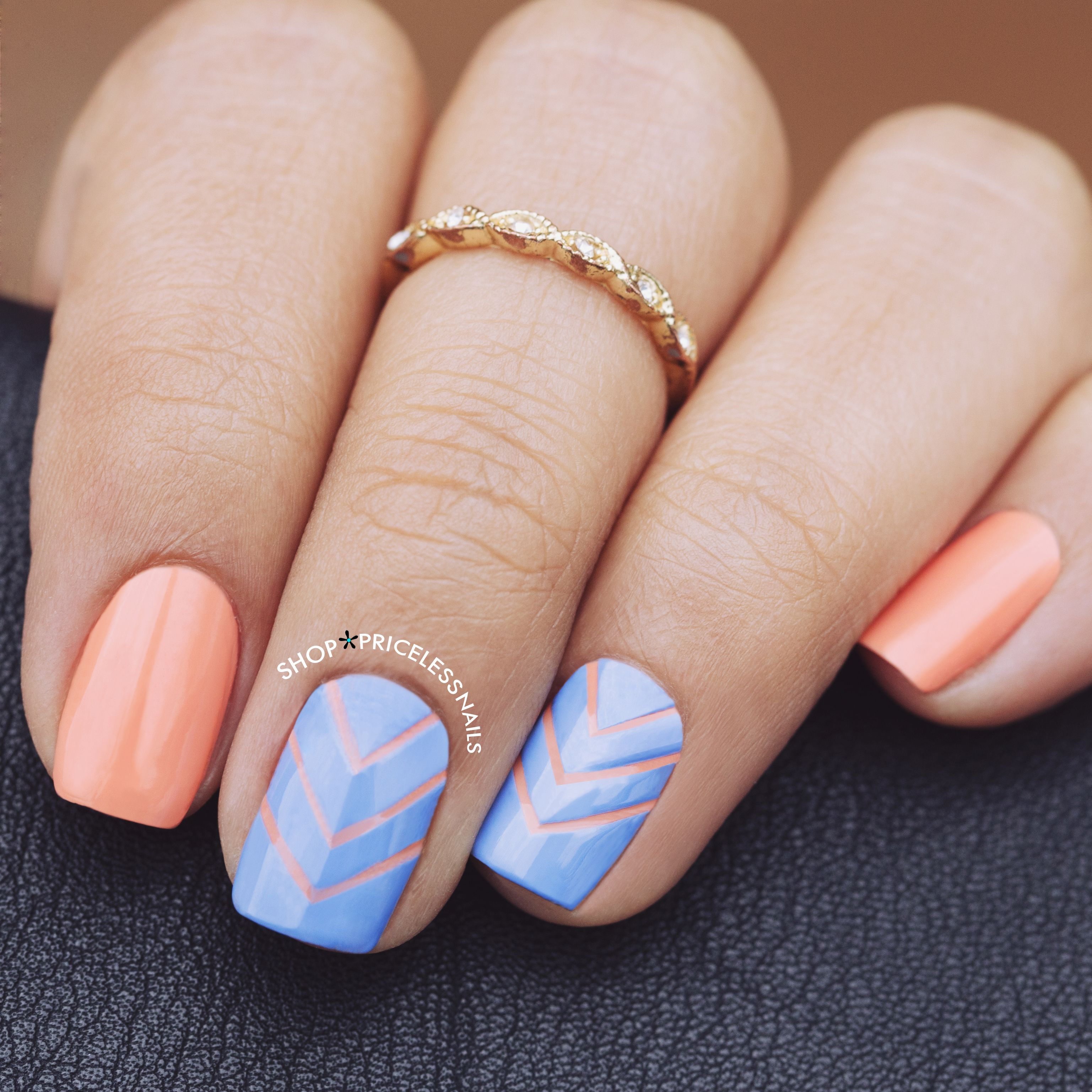 Love The Mix Of Periwinkle C Plus A Chevron Nail Design For Manimonday