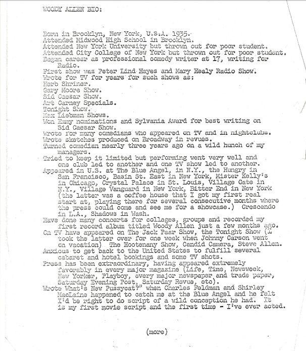30-Year-Old Woody Allenu0027s Resume - resume writer nyc