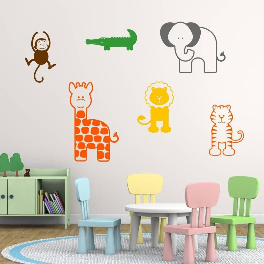 Nursery animal wall stickers vinyls jungle animals and animals nursery animal wall stickers amipublicfo Image collections