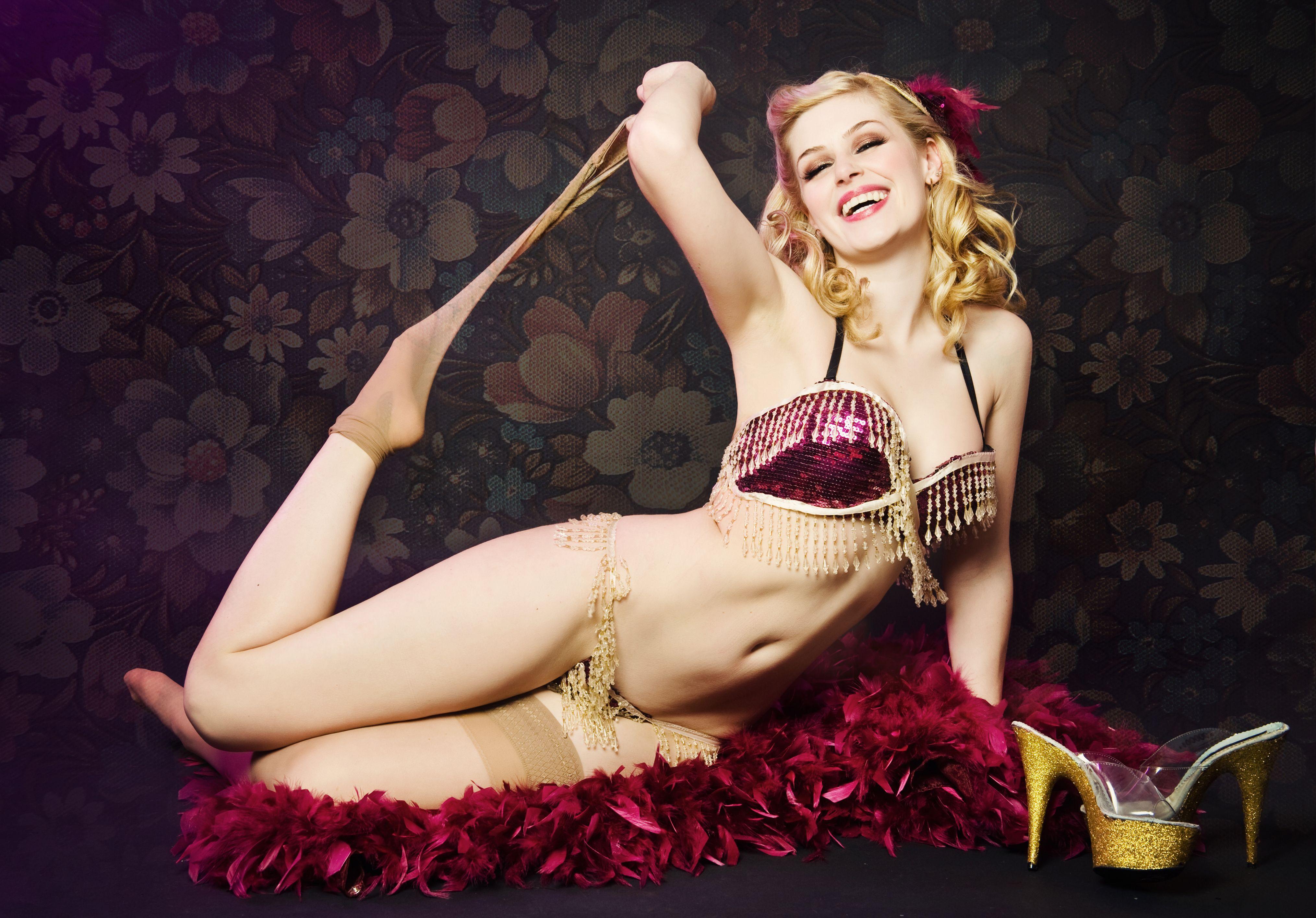 Sexy Cabaret Nightclub Glamorous Hostess Opening Champagne Bot Stock Photo