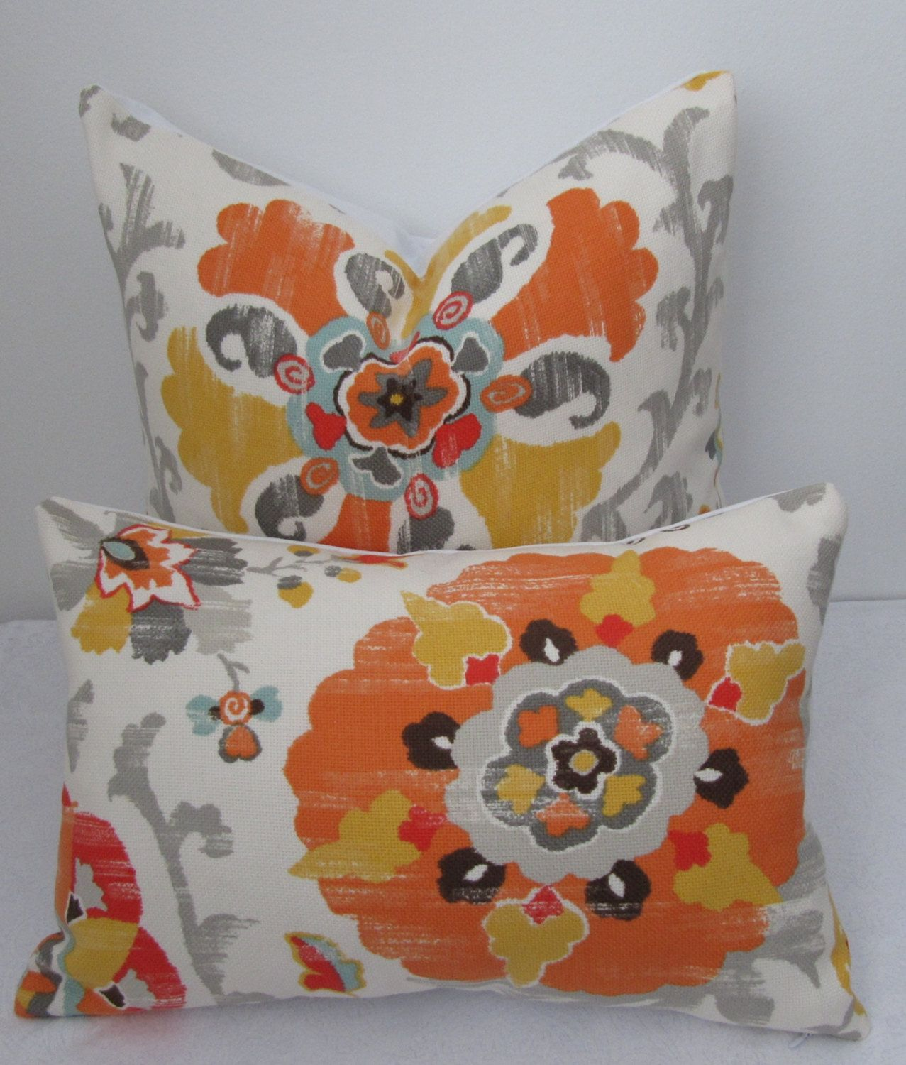 Pillow cover indooroutdoor suzani gold and tangerine pillow