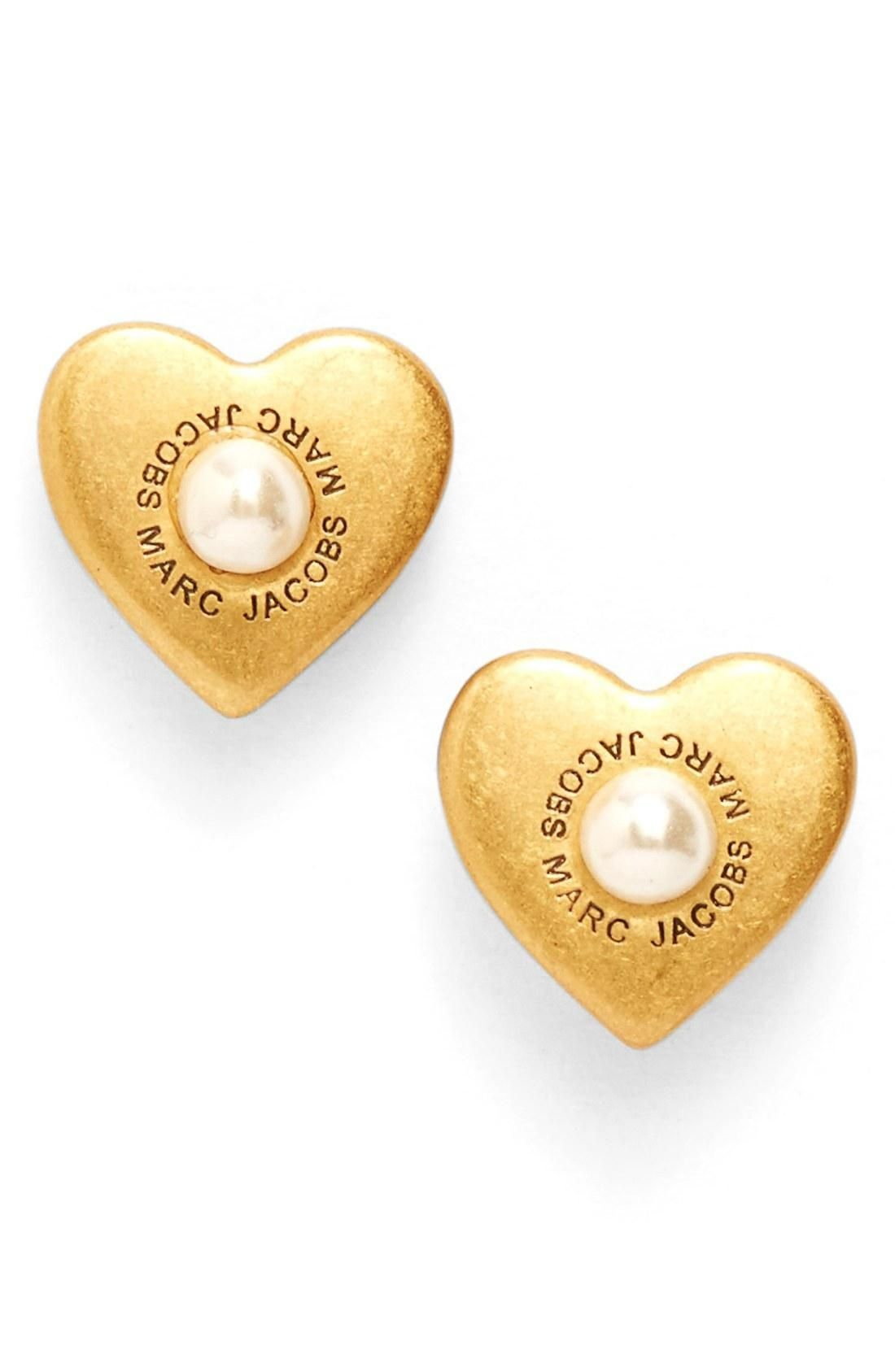 ae8b6c064 MARC JACOBS Faux Pearl Heart Stud Earrings - Brought to you by Avarsha.com