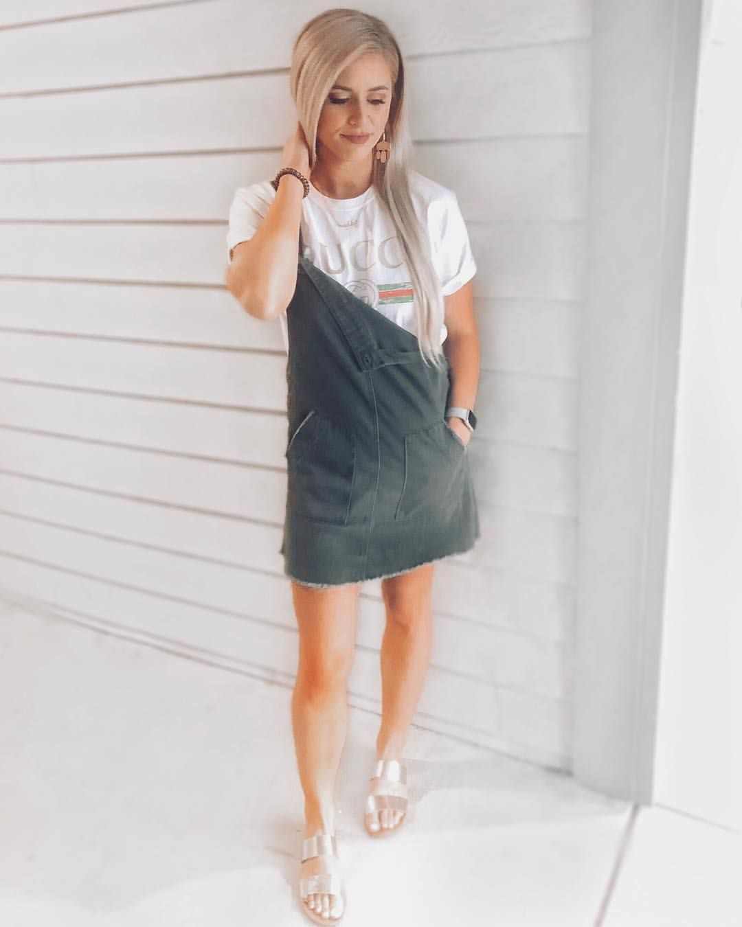 Gucci Tee Outfit Green Overall Dress Outfit Overall Dress Overalls Overall Shorts [ 1350 x 1080 Pixel ]