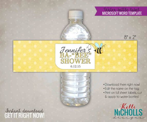 PERSONALISED BABY SHOWER WATER BOTTLE LABELS STICKERS PARTY FAVOURS DECOR X 6