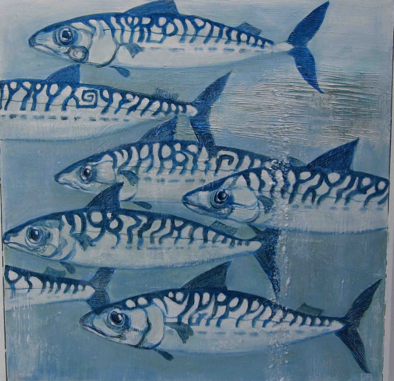 Felix murillo lleno de colores painting acrylic artwork fish art - Mackeral Migration Painted By Jan Phethean Fish Paintingswildlifefishmotif