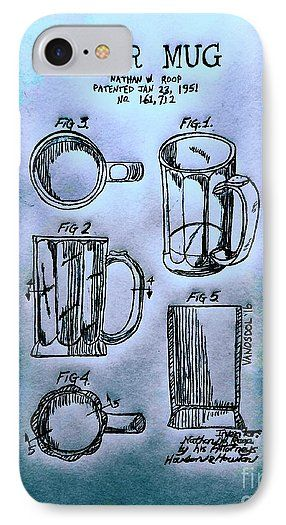 1951 BEER MUG Patent Graphite Pencil Sketched Art from the art studio of Scott D Van Osdol available at fineartsamerica.com
