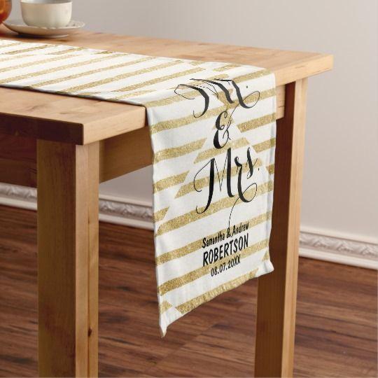 Modern Brushstrokes Gold Stripes Wedding Medium Table Runner