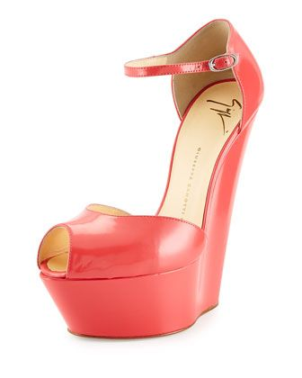 Leather Peep-Toe Wedge, Light Red by Giuseppe Zanotti at Neiman Marcus.