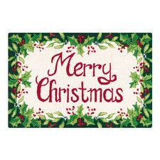Merry Christmas Green and Red Hooked Area Rug