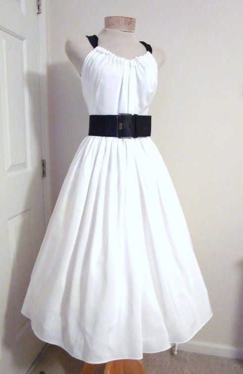 Vintage 1950s Style Dress White Bridal Beach By Tenderlane