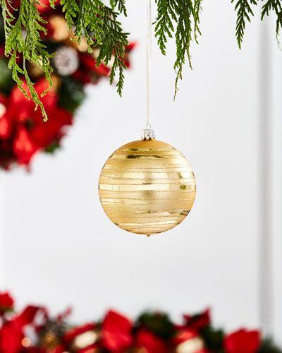 Gold & Glitter Collection Matte Silvery/Stripes Ornament