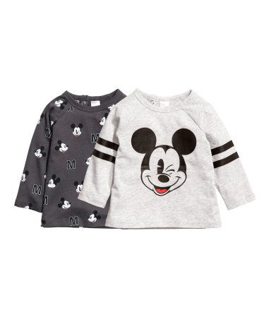 a225a36cd628 Gray melange Mickey Mouse. Tops in cotton jersey with a printed ...