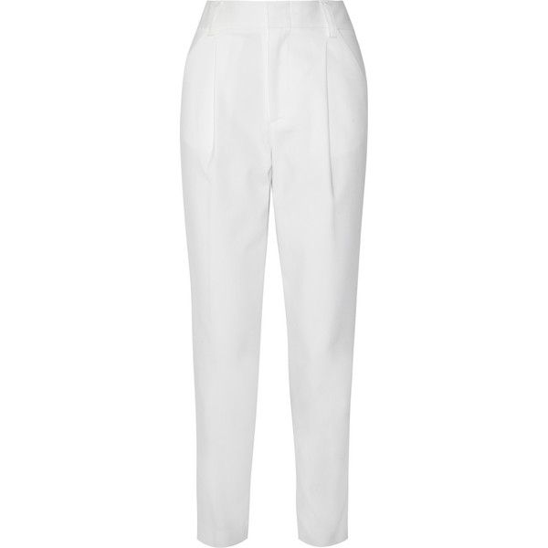 Alice + Olivia Arthur cotton-blend faille straight-leg pants (€110) ❤ liked on Polyvore featuring pants, white, straight pants, white straight leg pants, straight leg pants, cotton blend pants and straight leg trousers