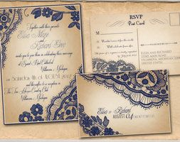 Navy Lace wedding suite by ABandIG. *** I like navy as opposed to black, but does it fit with color scheme?