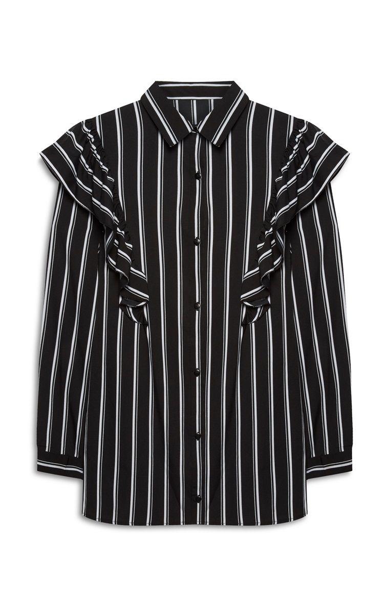 04ca49f1f9aff6 Primark - Schwarz-weiße Bluse mit Rüschen | unterschiedliche Details ...