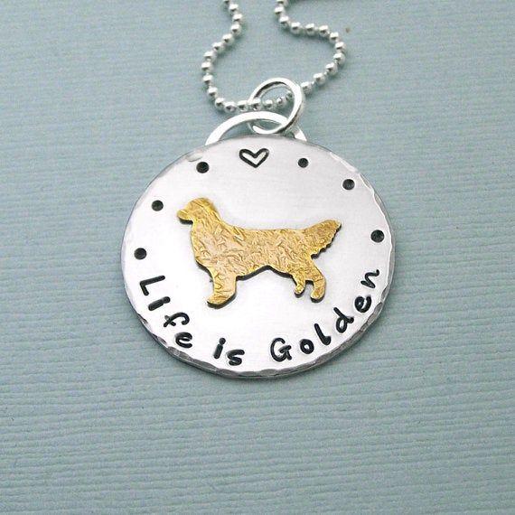 Photo of Golden Retriever Halskette – 14 Karat Gold gefüllt und Sterling Silber – Das Leben ist golden