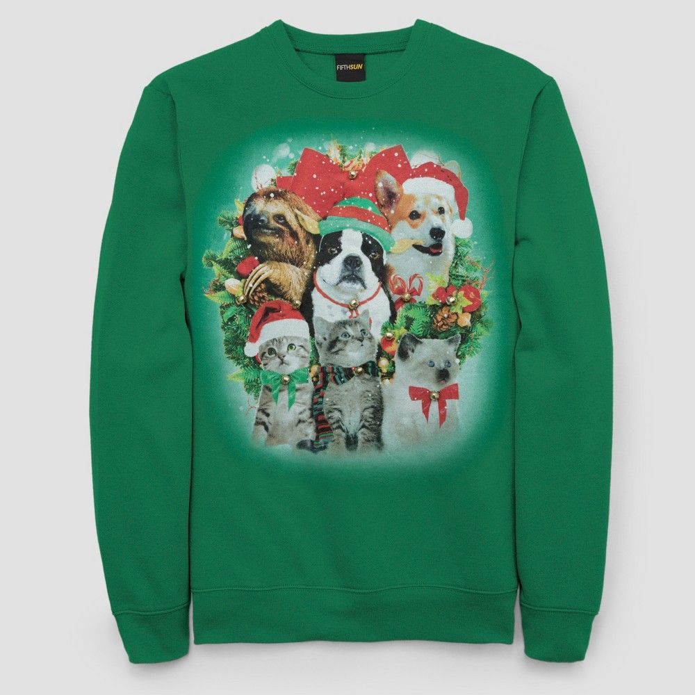 cb62e7165 Men's Big & Tall Ugly Holiday Animals Pullover Sweater - Kelly Green 5XL