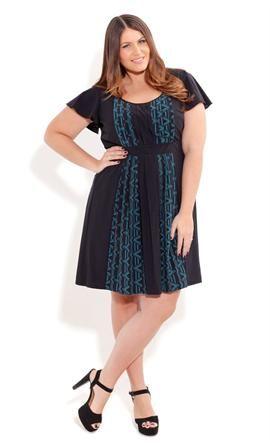 Pleated Aztec Dress Plus Size Dresses Onestopplus Plus
