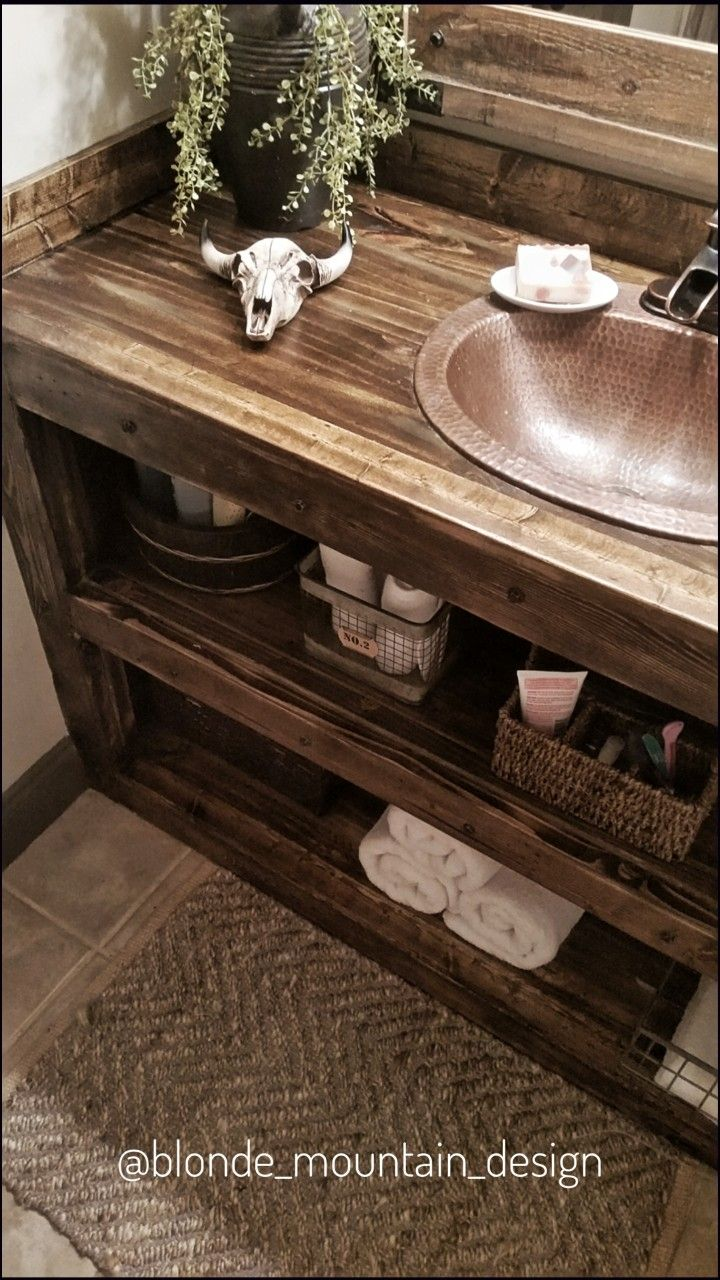 Built in Bathroom Cabinet, Open Shelf Bathroom Vanity, Rustic Bath ...