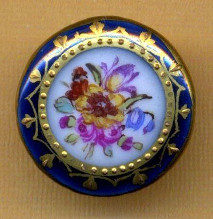 Antique Button…Pretty Hand Painted Gilded Porcelain…Double Border Flowers | eBay