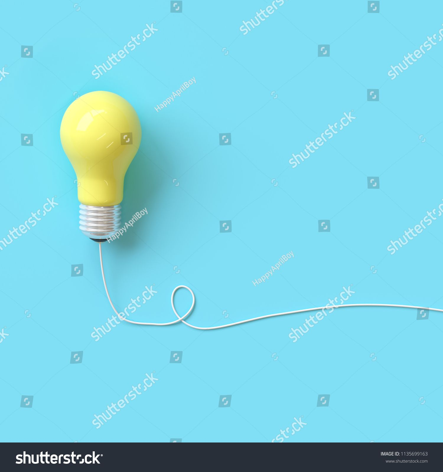 Yellow Lightbulb With Wire On Blue Background For Copyspace Minimal Idea Concept Top View Ad Aff Blue Backgrounds Light Bulb Social Media Design Graphics
