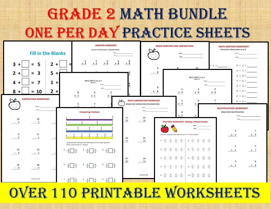 Grade 2 Math Workbook One Per Day 110 Math Worksheets