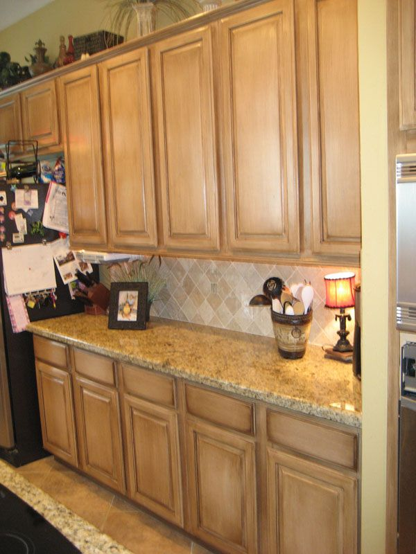 Pickled Kitchen Cabinetry Glazed With Rich Brown For The