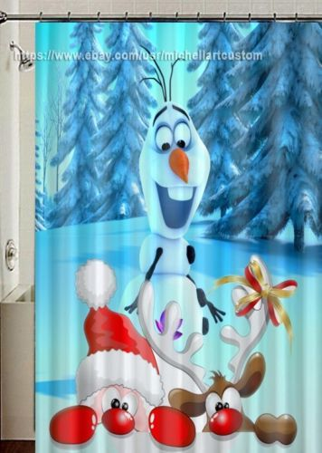 New Santa Claus Olaf And Deer Winter Christmas Design Shower Curtain 60 034 X 72