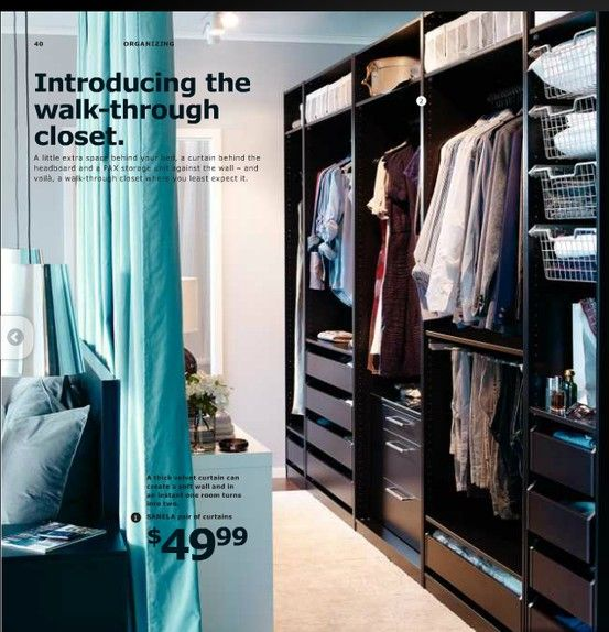 Makeshift Walk-Through Closet from Ikea but I would build a wall instead of using & Makeshift Walk-Through Closet from Ikea but I would build a wall ...