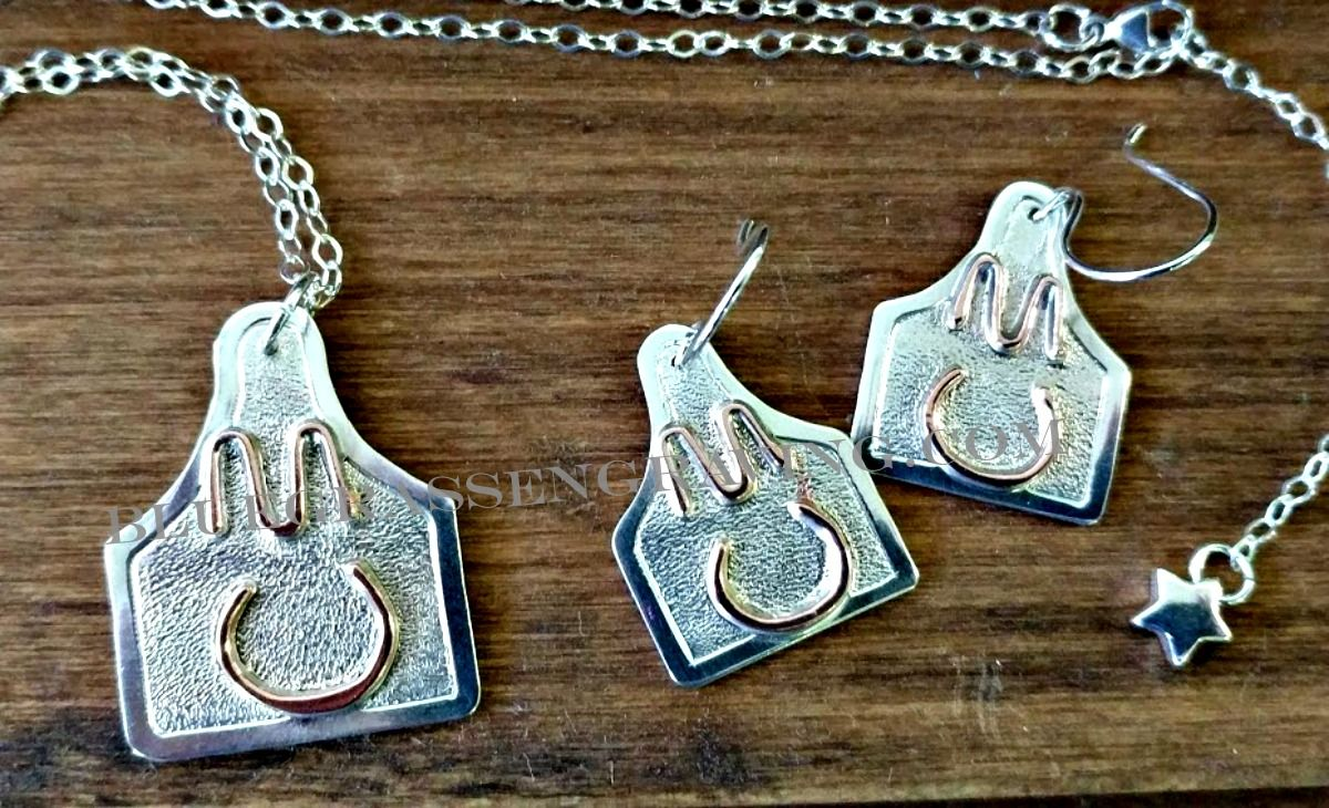 Sterling silver livestock earring and pendant set with custom