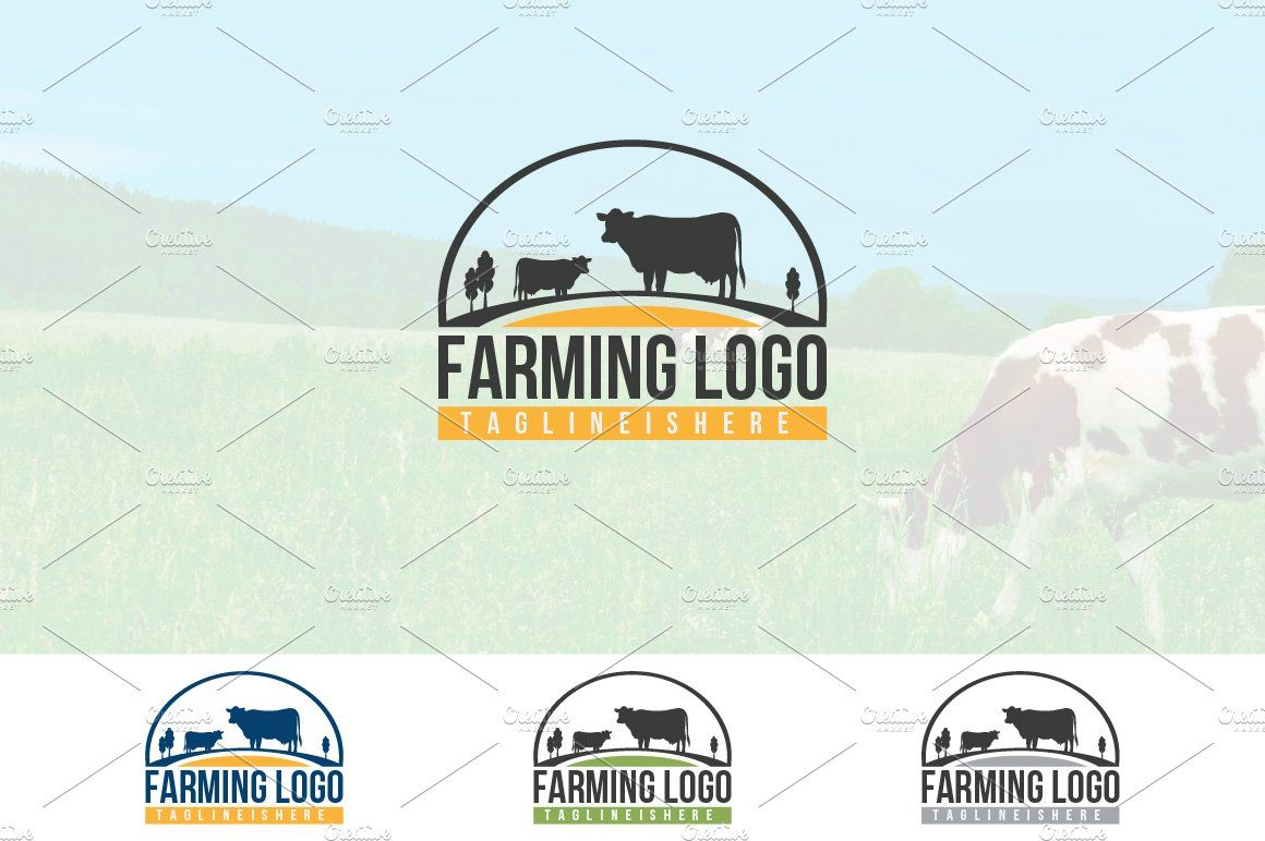 Cow Dairy Beef Farm Logo Ad , SPONSORED, sizecolor
