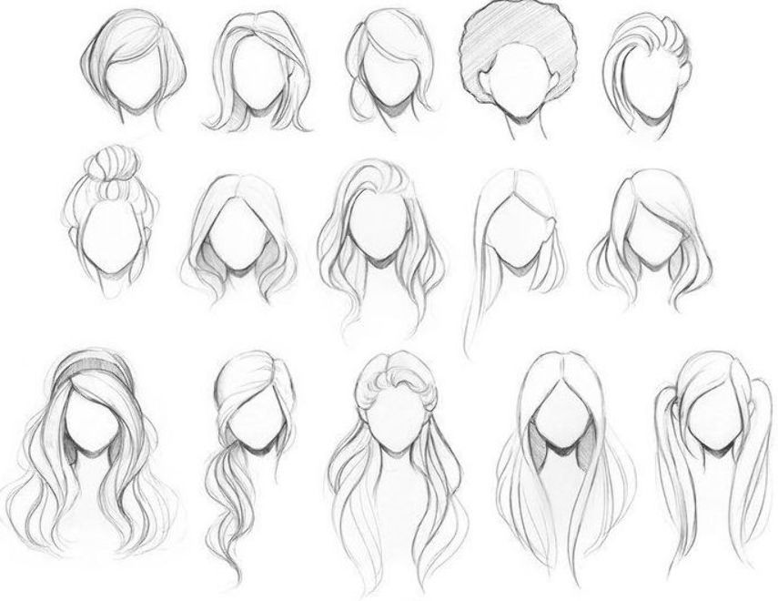 Sketches Of Female Hairstyle Anime Girlhairstyles Hair Pixers Draw Anime Draw Female Girlhairstyles Drawing Hair Tutorial Hair Sketch Cartoon Hair