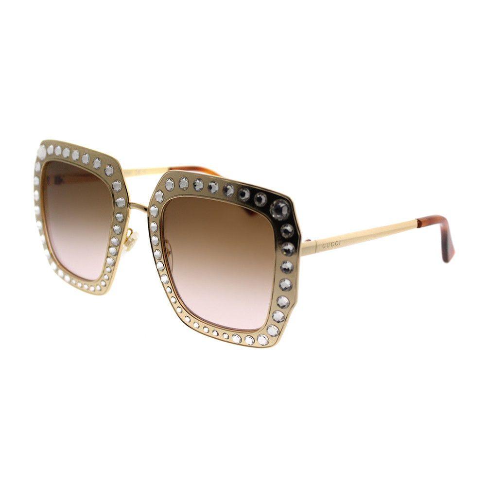 7b2b33ba04  Gucci GG0115S 002 Gold Crystals Metal Square Sunglasses Brown Gradient Lens