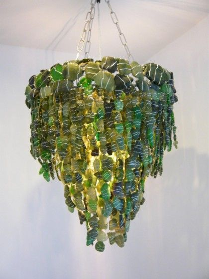 green sea glass handmade chandelier by sara le gris diy lamps sea glass sea glass. Black Bedroom Furniture Sets. Home Design Ideas