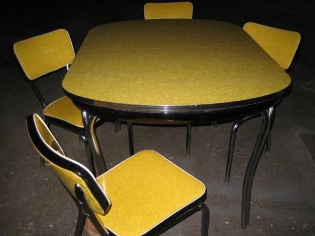 Sedie Formica ~ Nero formica bianco e giallo tavolo dinette e sedie set da fine