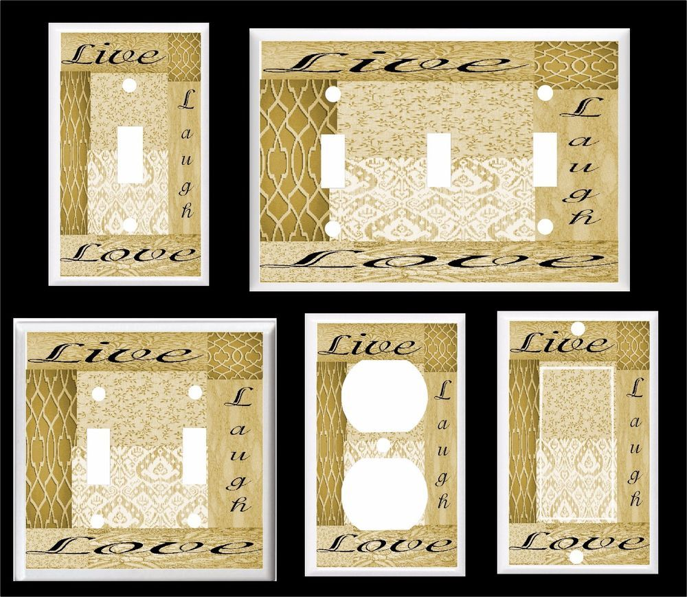 Live laugh love golden brown shades #1 light switch cover plate ...
