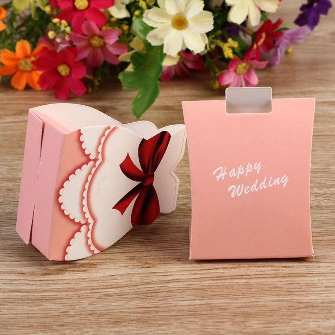 Hot 50pcs Fashion Pink Bride Groom Tuxedo Dress Gown Shape Wedding Favors Candy Gift Box