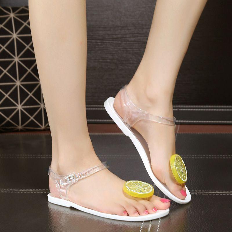 1079a33a0213 Size 36-40 Summer Women Jelly Sandals Shoes Partsu Lemon Flip Flops Girls Flat  Beach Sandals Fruit Flower Flip Flops