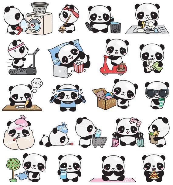Premium Vector Clipart Kawaii Panda Cute Panda Planning Clipart Instant Download Kawaii Clipart Cute Panda Drawing Kawaii Panda Panda Art