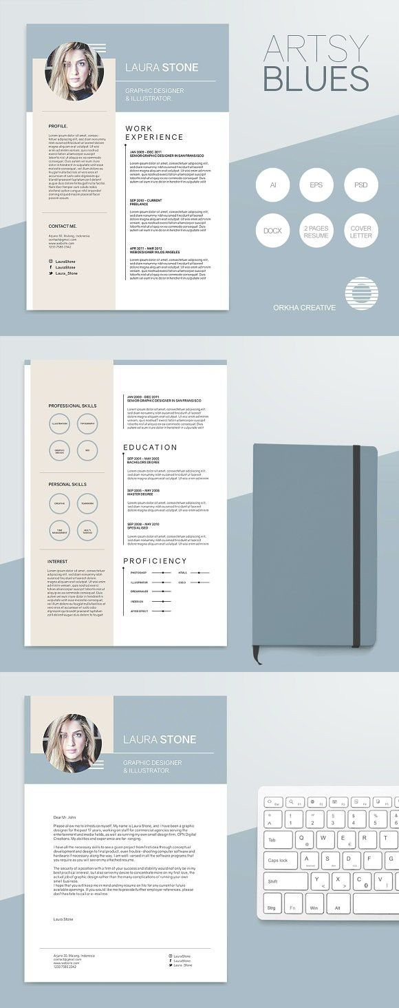 Artsy Blues Resume Template Templates