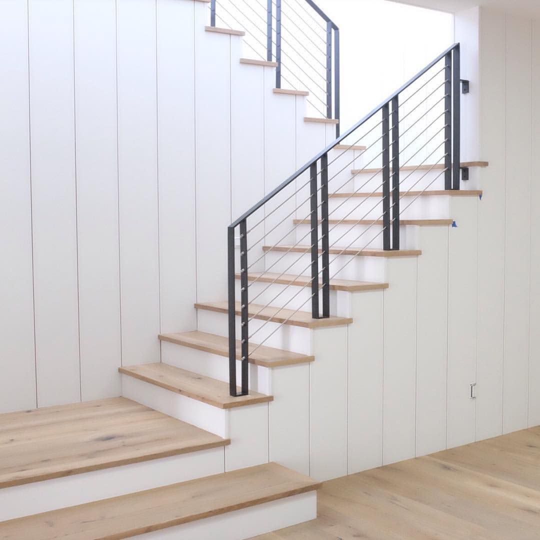 Modern farmhouse stair case | Farmhouse stairs, Foyer decorating, Stair  remodel