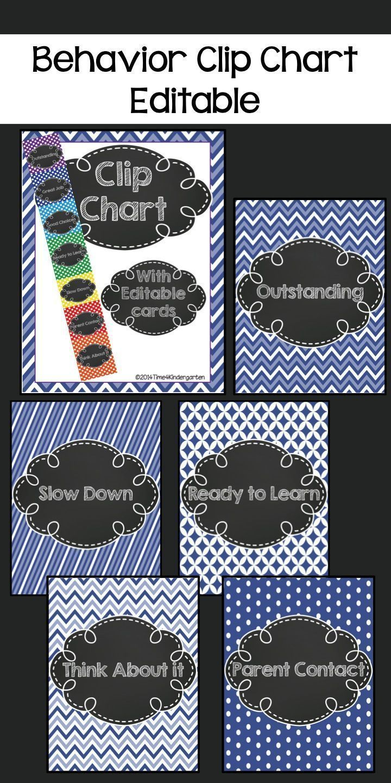 Blue themed behavior clip chart also management patterns and chalk editable rh pinterest