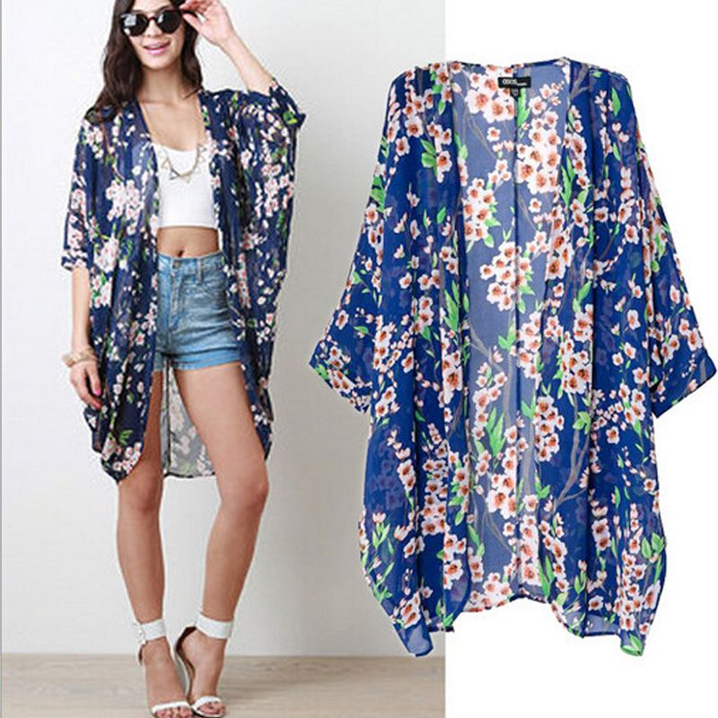 Olrain Women's Blue Floral Print Cape Sheer Chiffon Loose Kimono ...