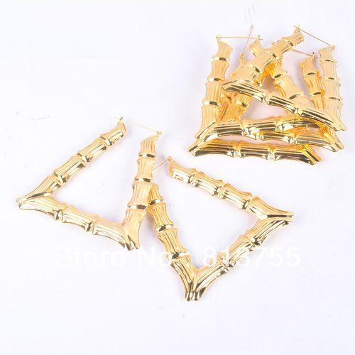 Fashion Trapezoid Metal Zinc Alloy Bamboo Earrings Hoop Earrings - Jewelry FA