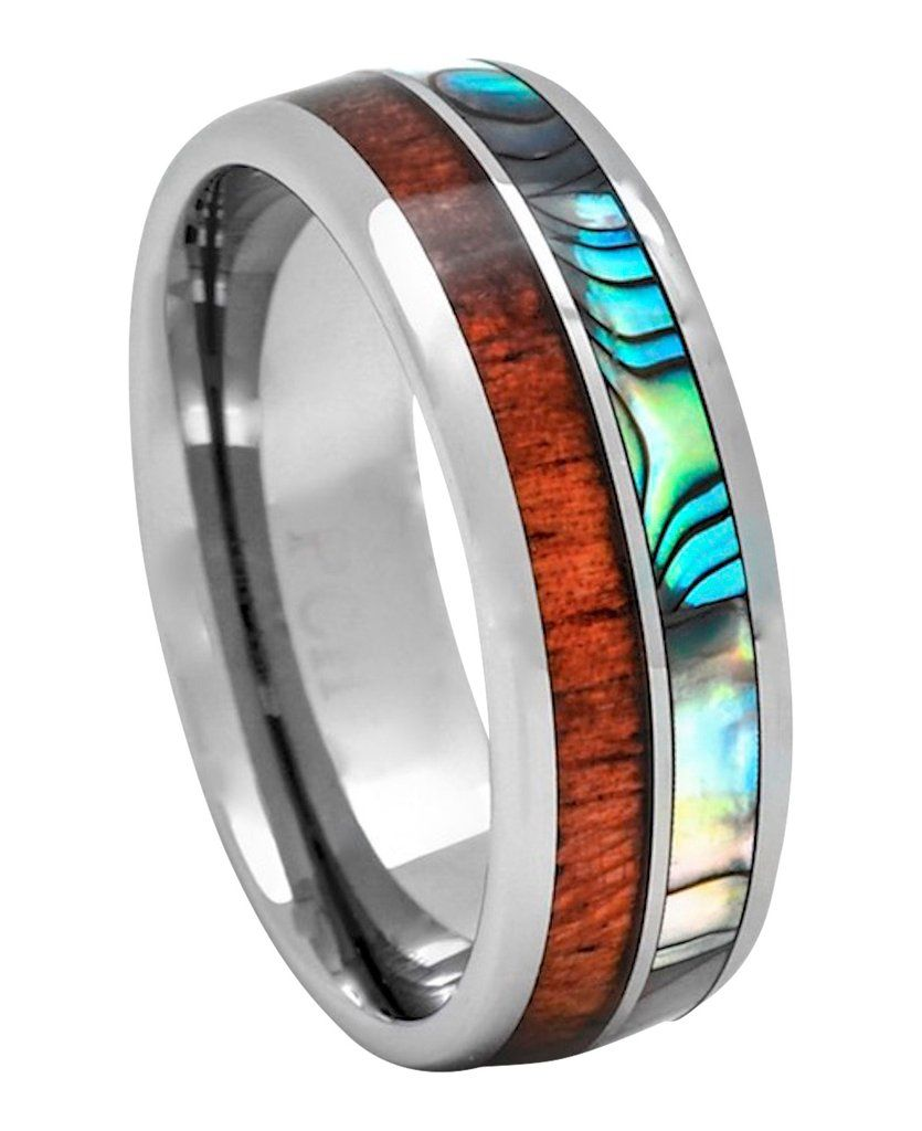 Tungsten Wedding Bands For Men And Women Hawaiian Koa Wood Abalone 8mm Dome Top: Carbide Abalone Wedding Rings At Websimilar.org