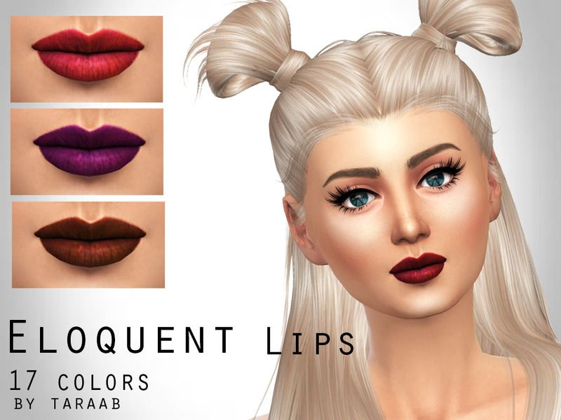 A new lip design that includes 17 colors and its own thumbnail. Available for both female and male sims aged child to elder. Found in TSR Category 'Sims 4 Female Lipstick'