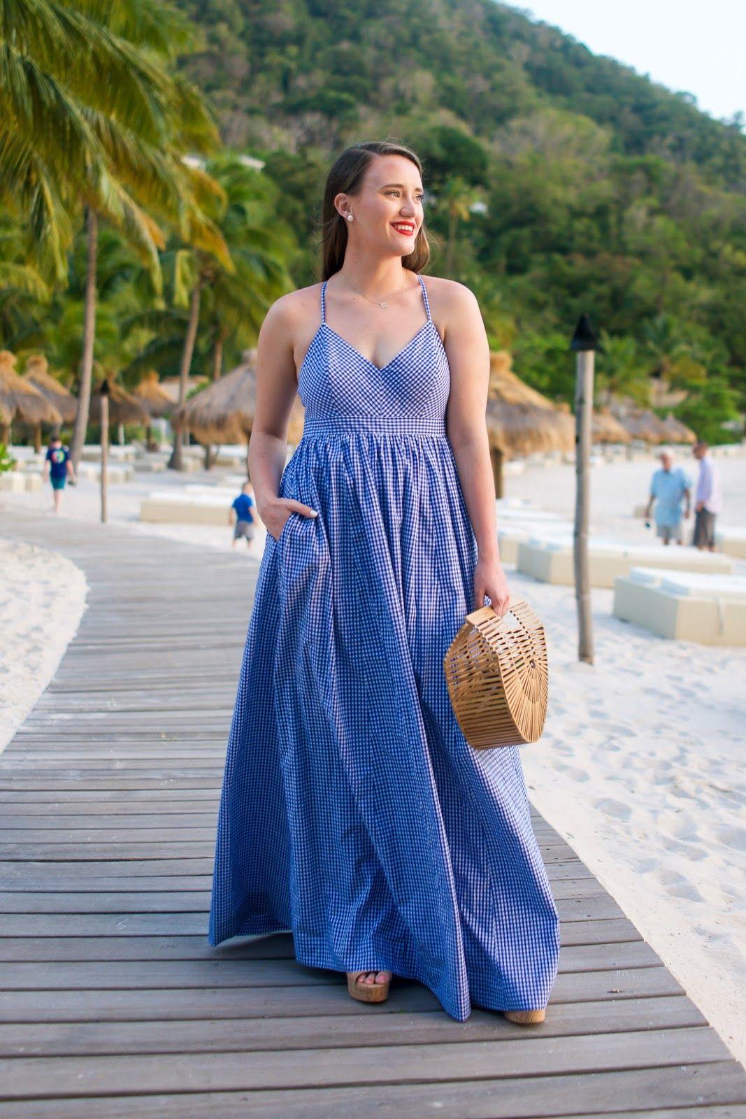J. Crew Gingham Maxi Dress